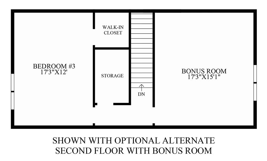 Optional Alternate 2nd Floor w/ Bonus Room Floor Plan