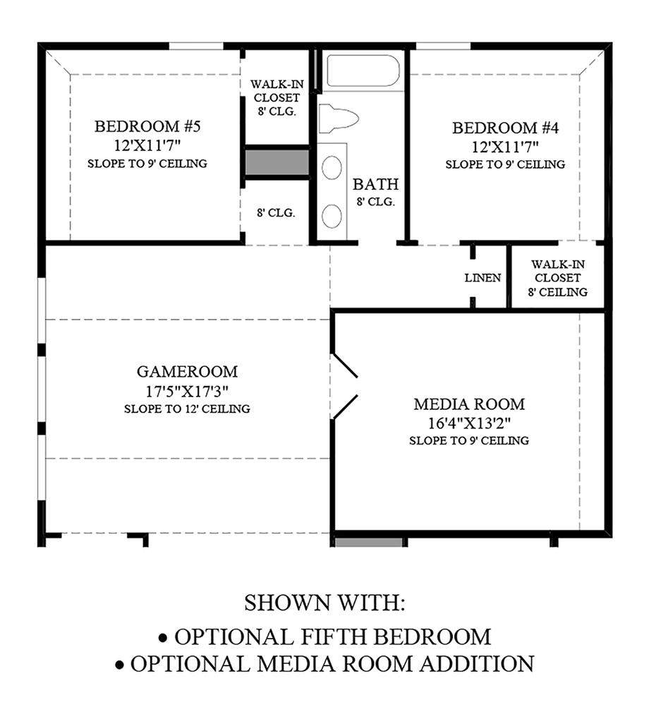 Optional Fifth Bedroom and Media Room Addition Floor Plan