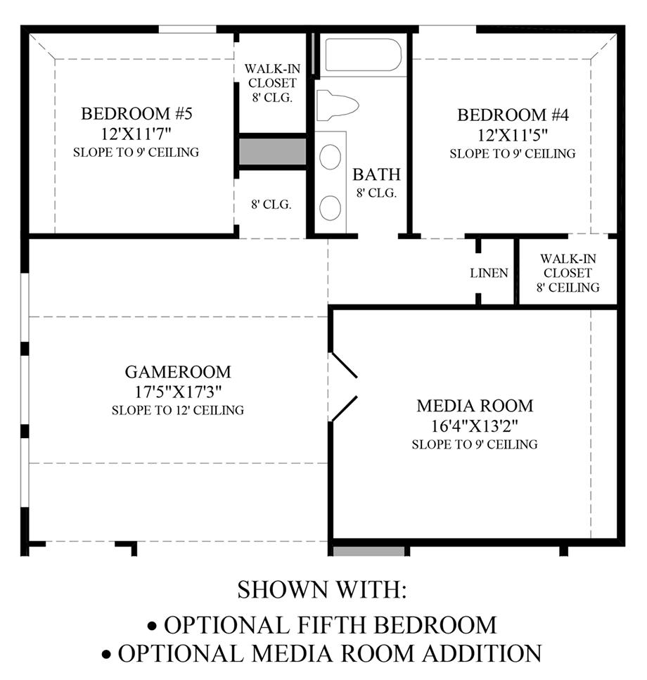 Optional 5th Bedroom & Media Room Addition Floor Plan