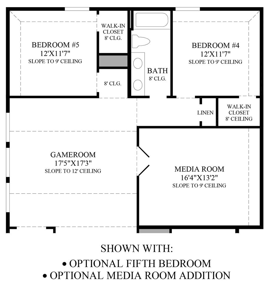 Optional 5th Bedroom/Media Room Addition Floor Plan