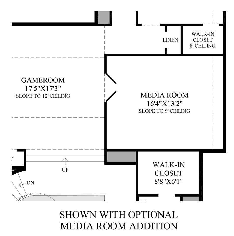 Optional Media Room Addition Floor Plan