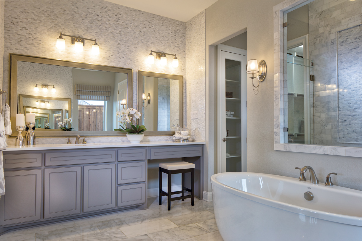 Stunning primary bath with massive walk-in closet