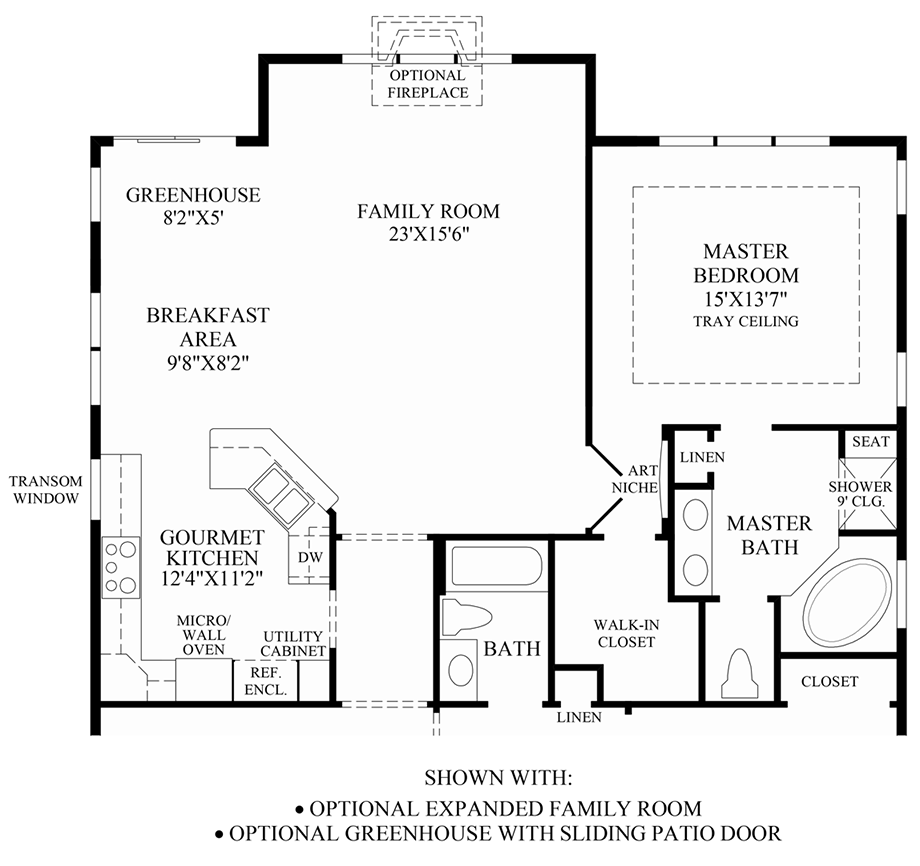 Optional Expanded Family Room & Greenhouse w/ Patio Door Floor Plan
