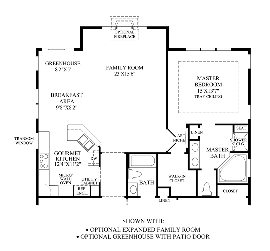 Optional Expanded Family Room/Greenhouse with Patio Door Floor Plan