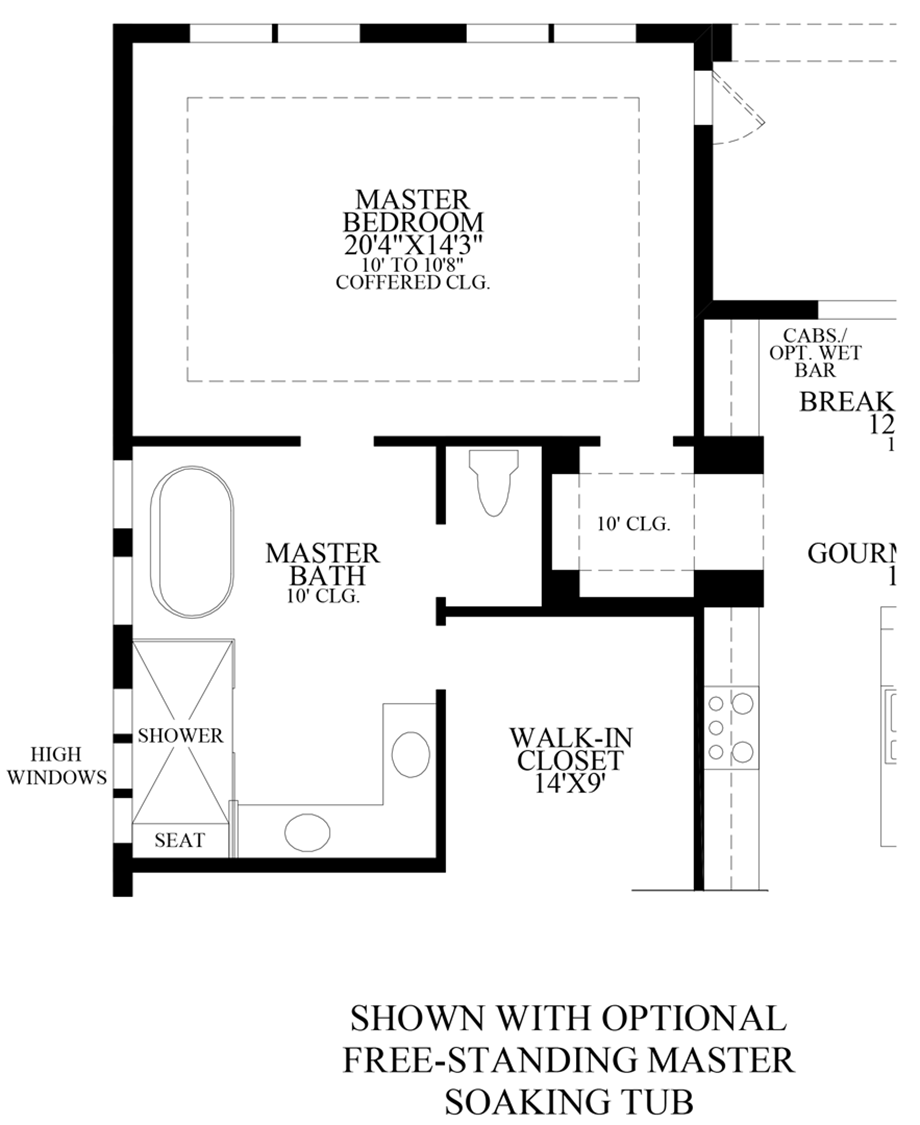 Optional Free-Standing Master Standing Tub Floor Plan