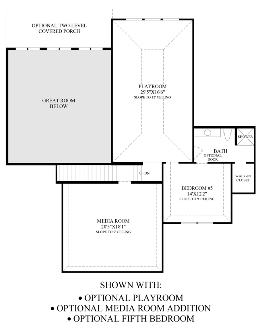 Optional Playroom, Media Room and 5th Bedroom Floor Plan