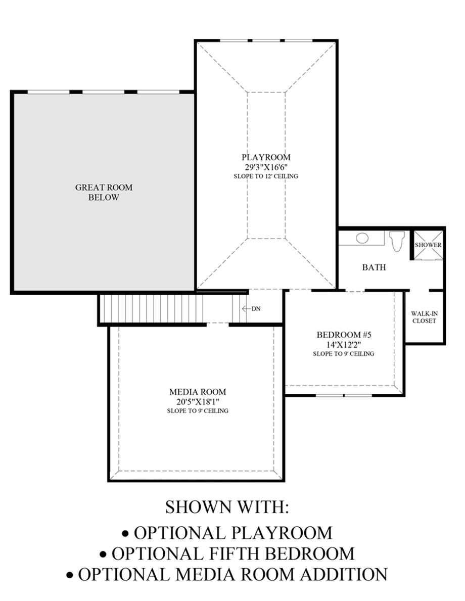Optional Playroom, 5th Bedroom & Media Room Addition Floor Plan