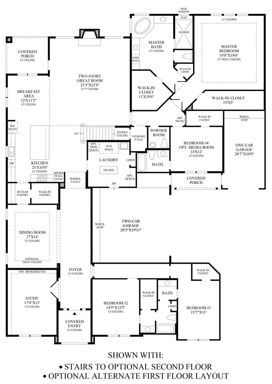 Stairs to Optional 2nd Floor & Alternate 1st Floor Layout Floor Plan
