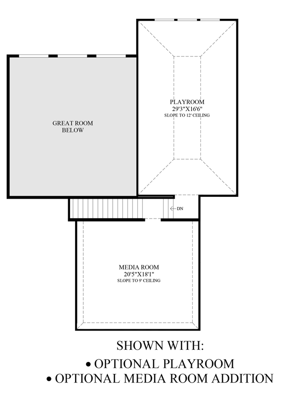 Optional Playroom & Media Room Addition Floor Plan