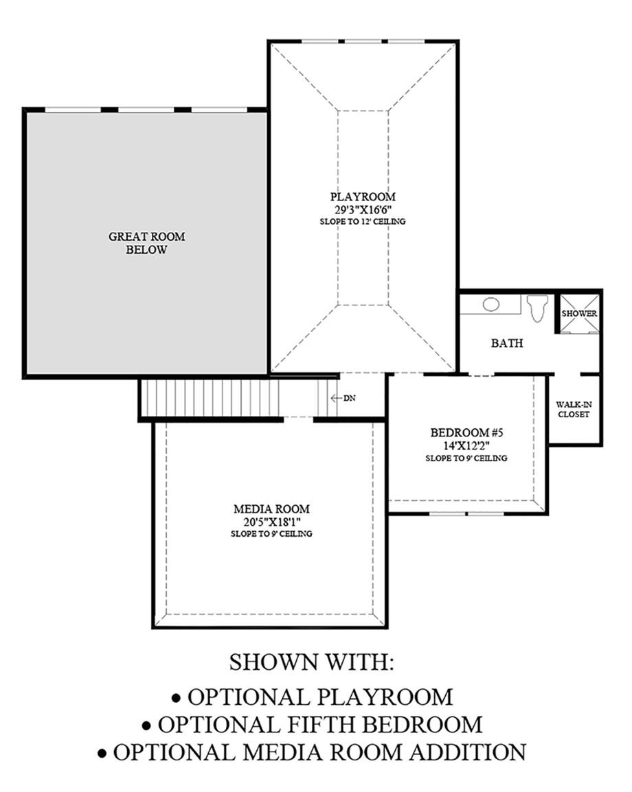 Optional Playroom, Fifth Bedroom, & Media Room Additon Floor Plan