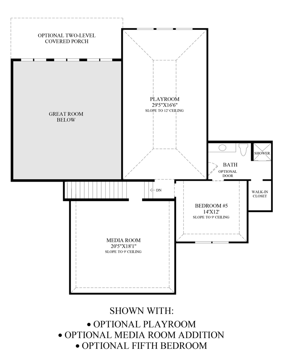 Optional Playroom, Media Room & 5th Bedroom Floor Plan
