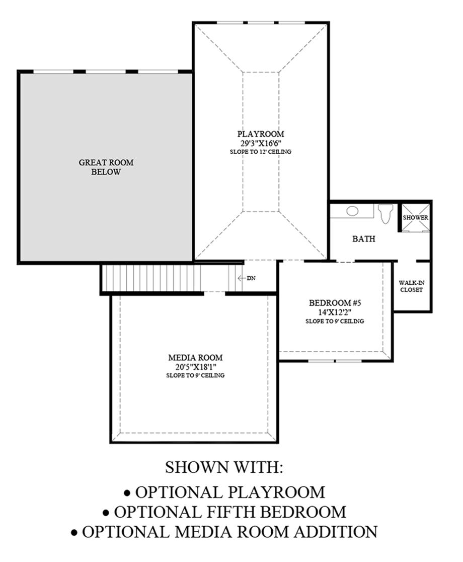 Optional Playroom, Fifth Bedroom, and Media Room Addition Floor Plan