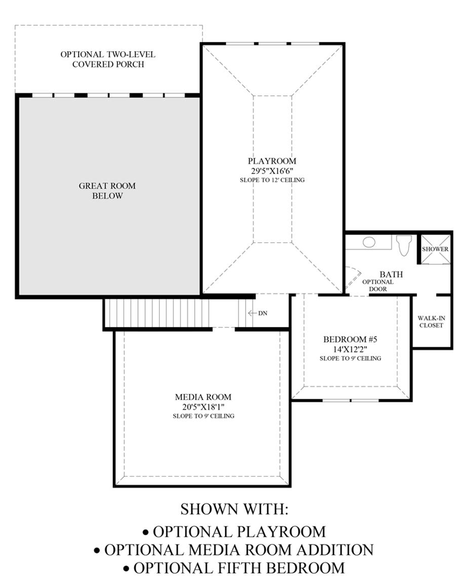 Optional Playroom, Media Room & 5th Bedroom Floor Plan