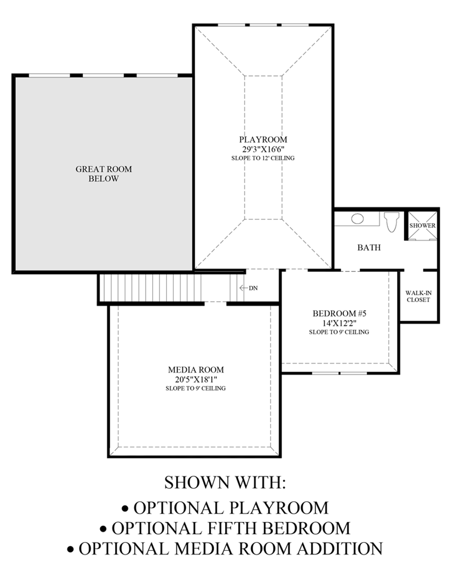 Optional Playroom, 5th Bedroom & Media Room Addition Floor Plan