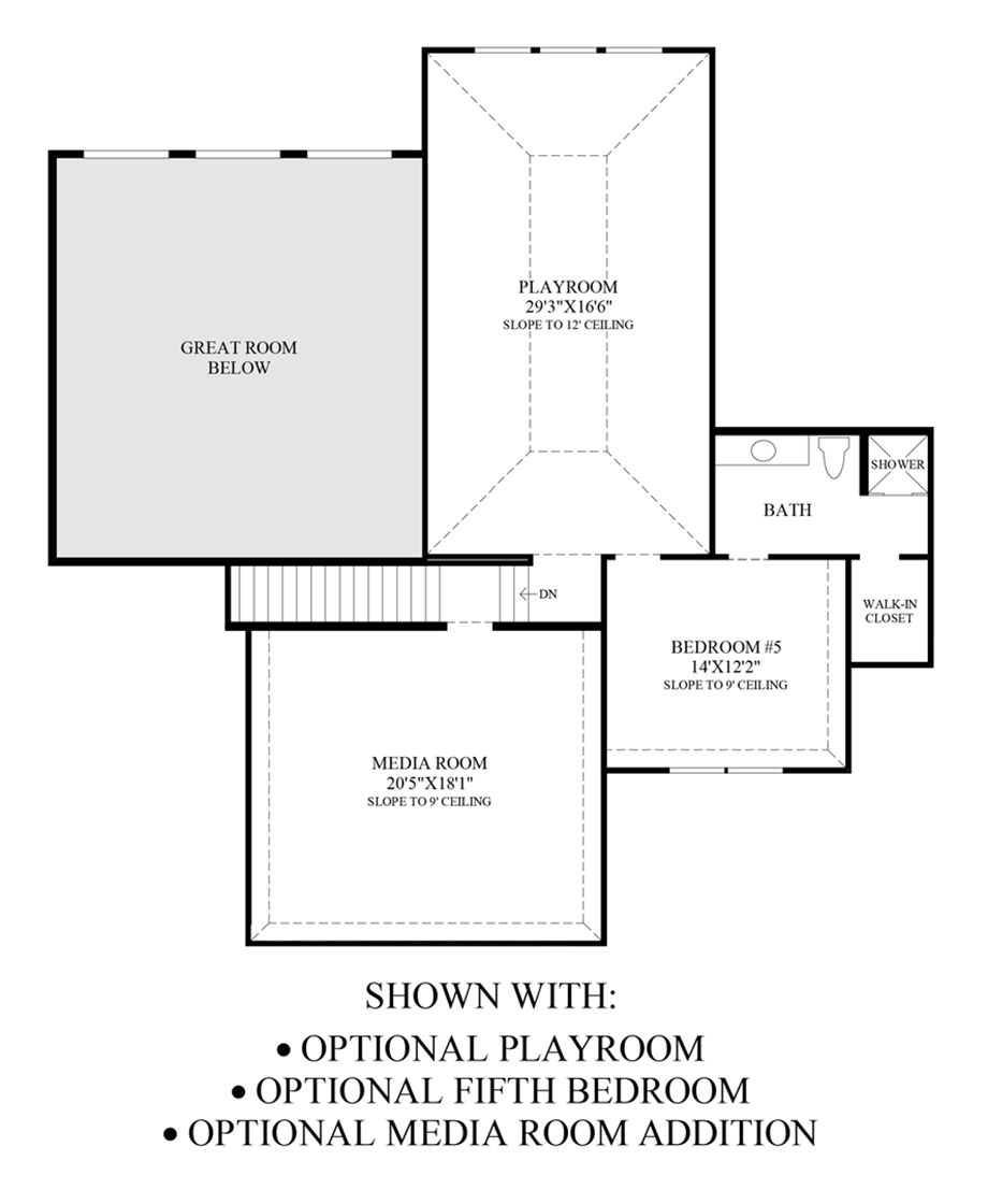 Optional Playroom, 5th Bedroom, Media Room Addition Floor Plan