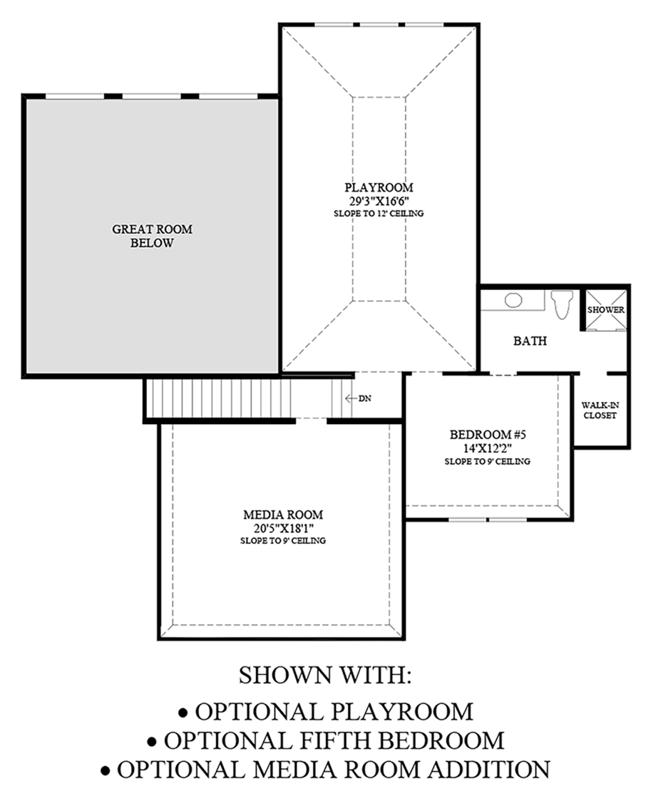 Optional Playroom, Fifth Bedroom, and Media Room Addition Floor Plan