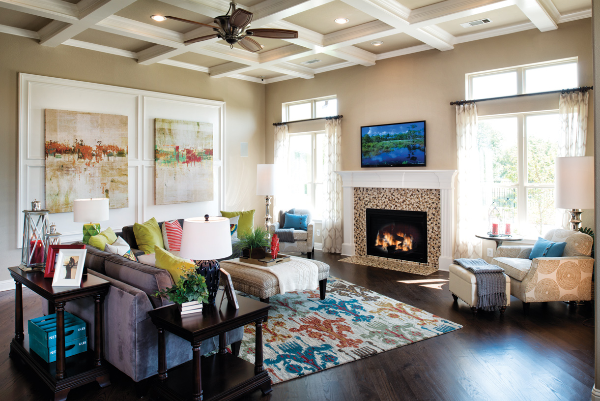 Large great room with a fireplace