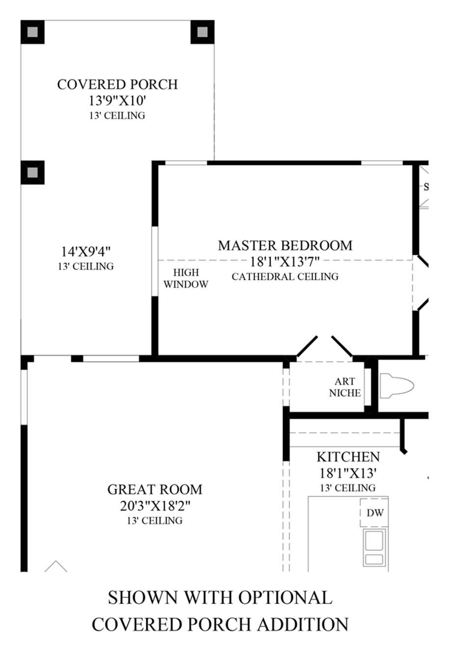 Optional Covered Porch Addition Floor Plan