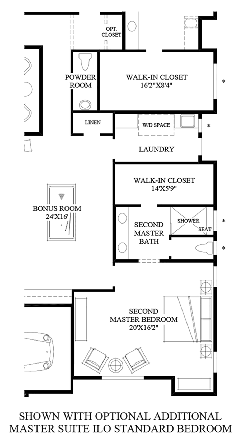 Optional Additional Master Suite ILO Standard Bedroom Floor Plan