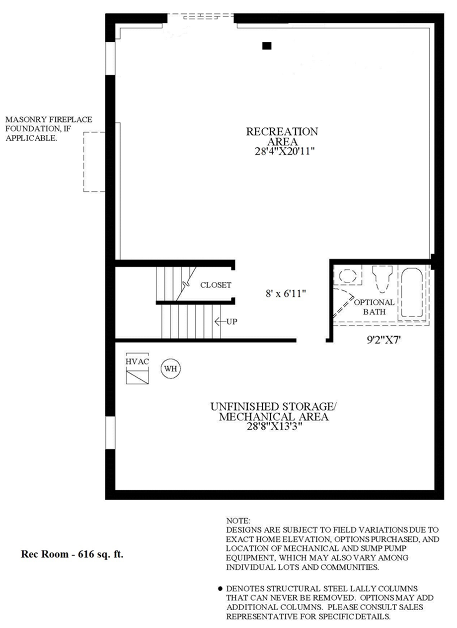 Optional Finished Lower Level Floor Plan