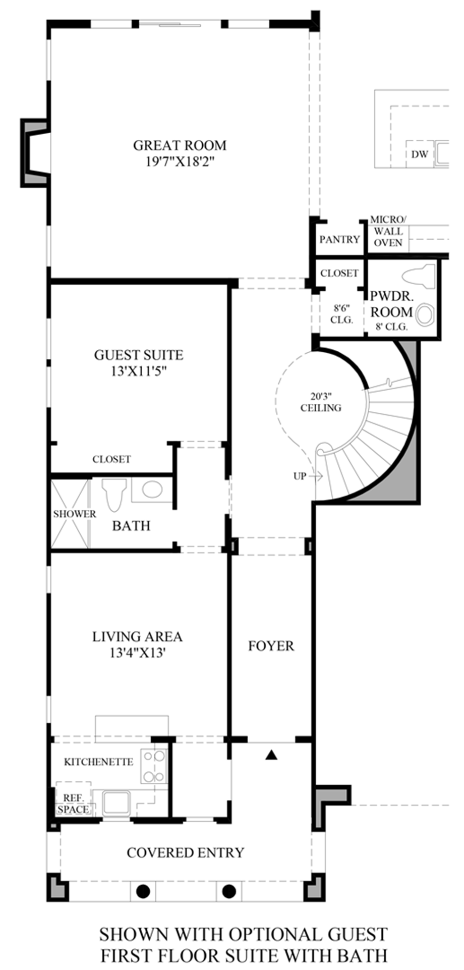 Optional Guest 1st Floor Suite with Bath Floor Plan