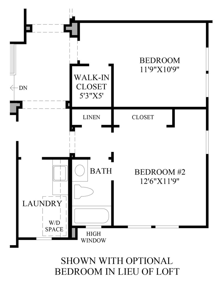 Optional Bedroom ILO Loft Floor Plan