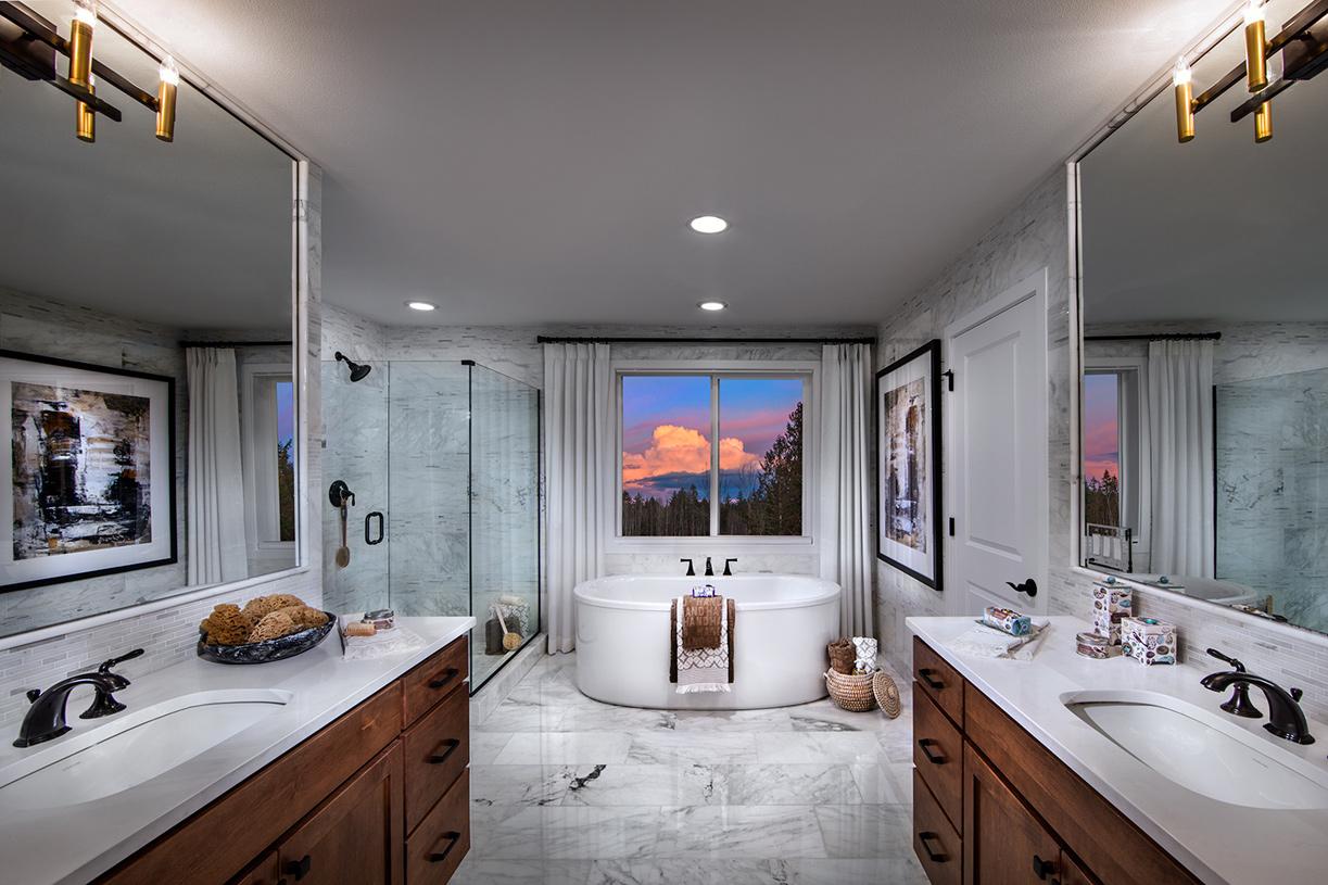 Luxe 5-piece bath features dual vanities