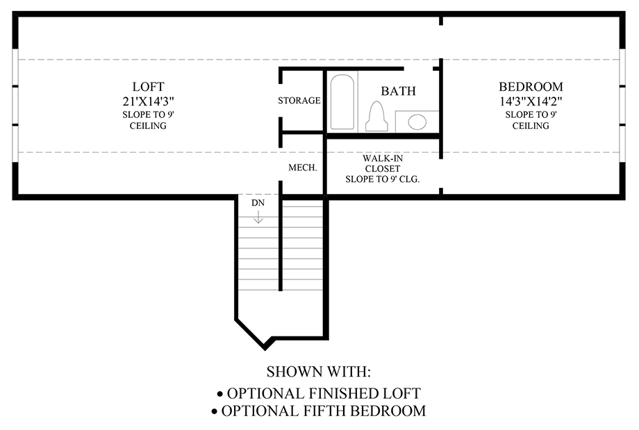 Optional Finished Loft & 5th Bedroom Floor Plan