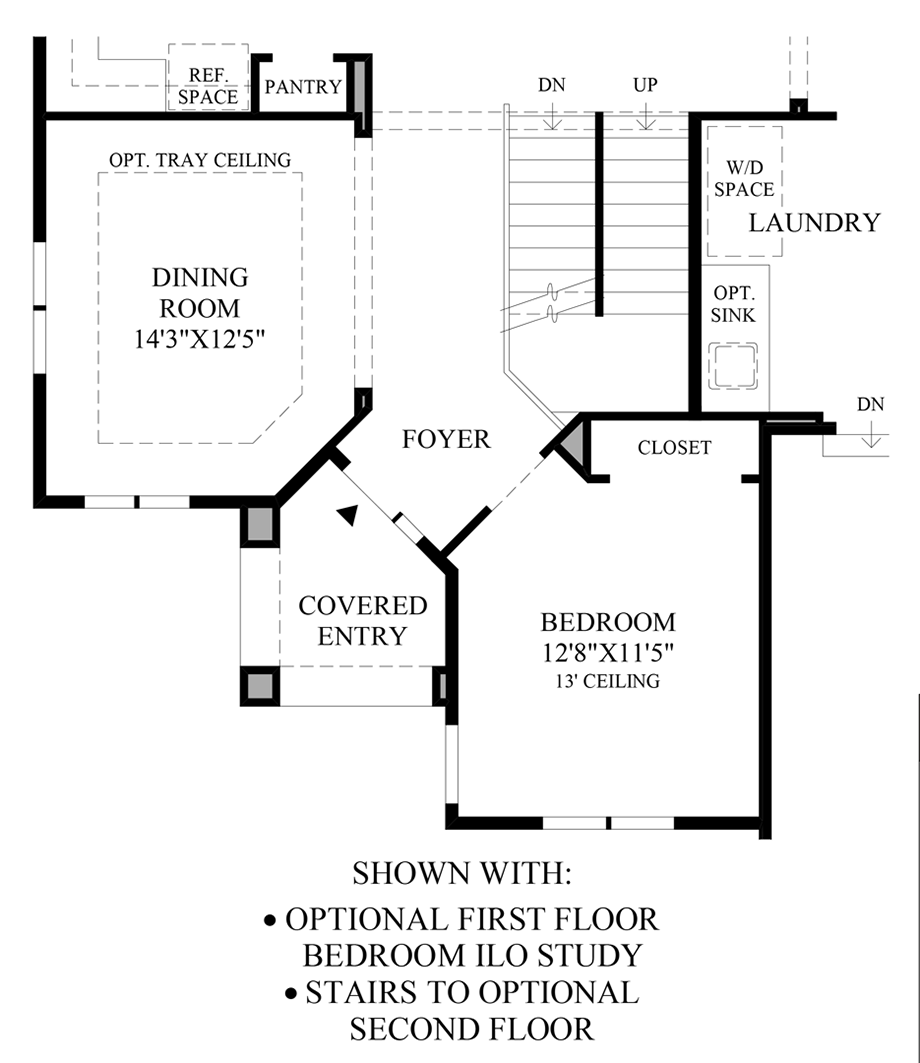 Optional 1st Floor Bedroom ILO Study & Stairs to Optional 2nd Floor Floor Plan