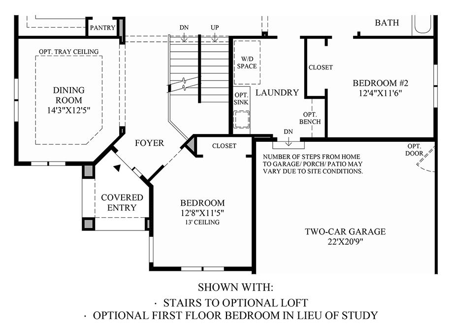Optional 1st Floor Bedroom ILO Study & Stairs to Optional Loft Floor Plan