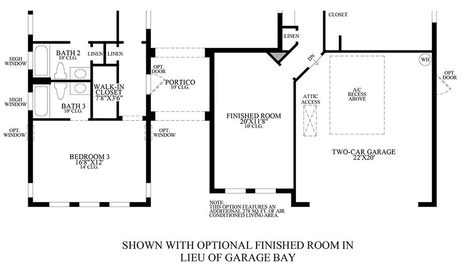Optional Finished Room ILO Garage Bay Floor Plan