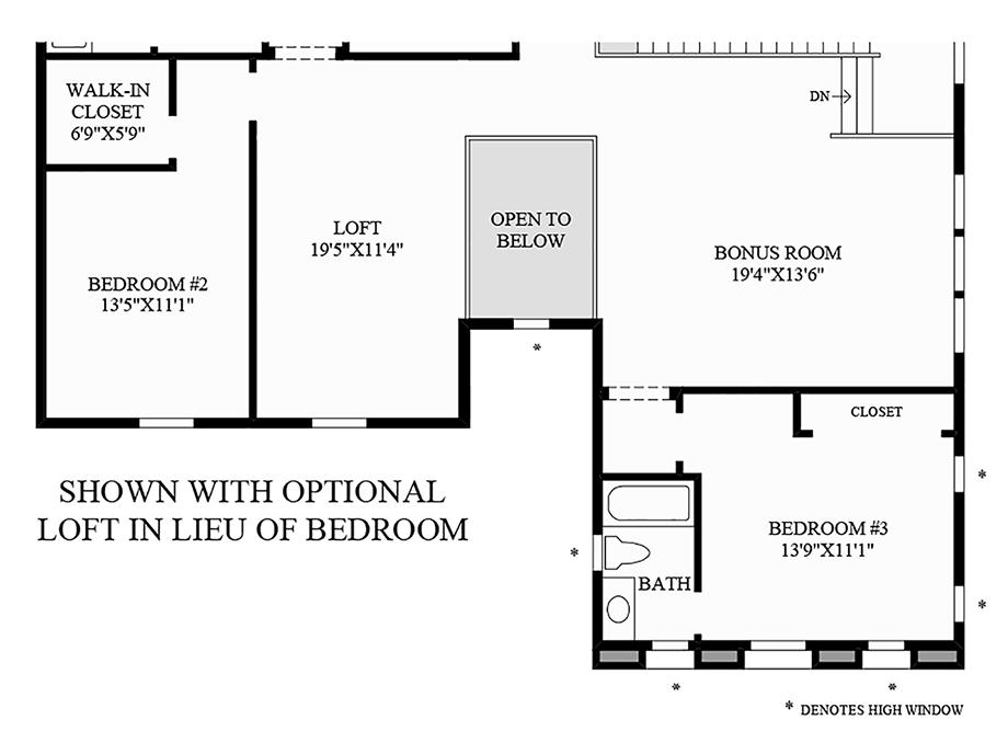 Optional Loft in Lieu of Bedroom Floor Plan