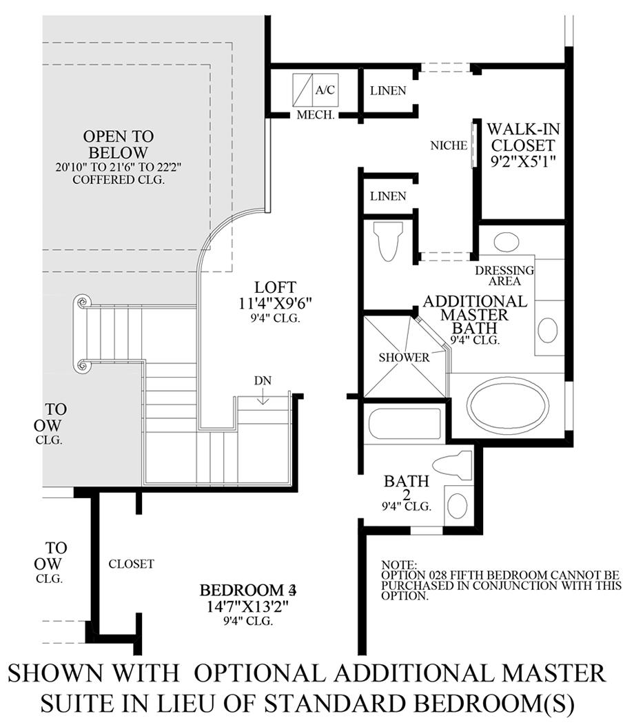 Optional Additional Master Suite ILO Standard Bedroom Floor Plan