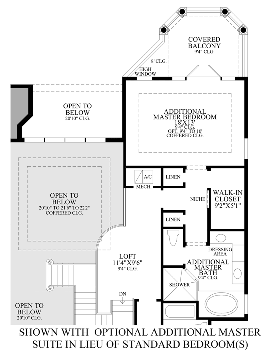 Optional Additional Master Suite ILO Standard Bedroom(s) Floor Plan