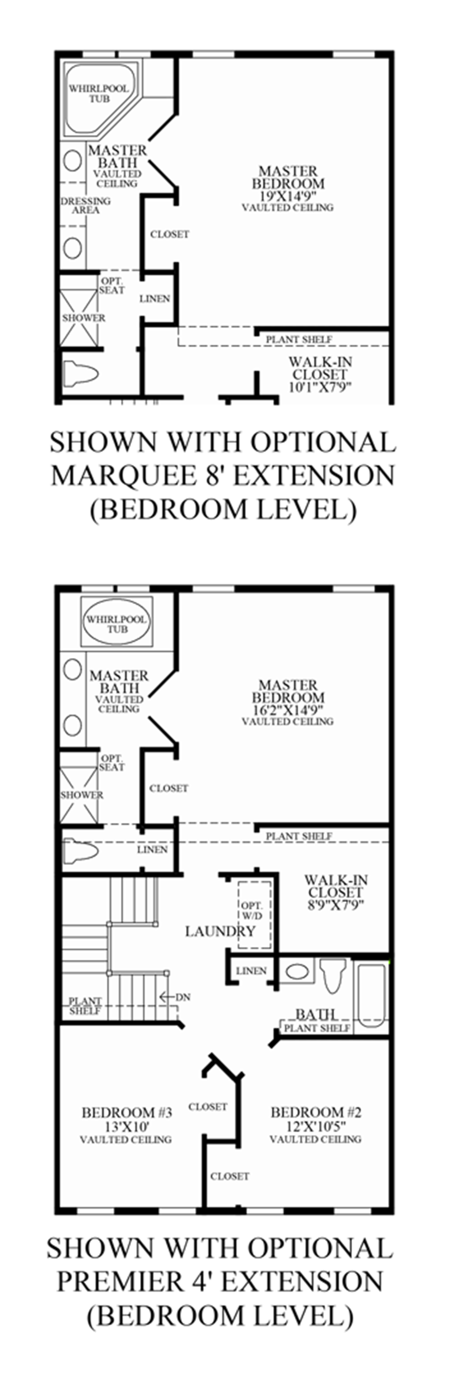 Optional Extensions Bedroom Level Floor Plan