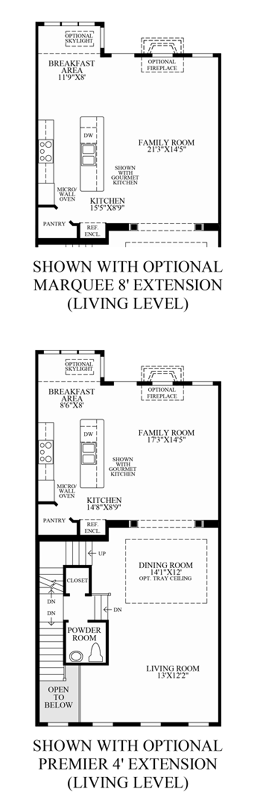 Optional Extensions Living Level Floor Plan