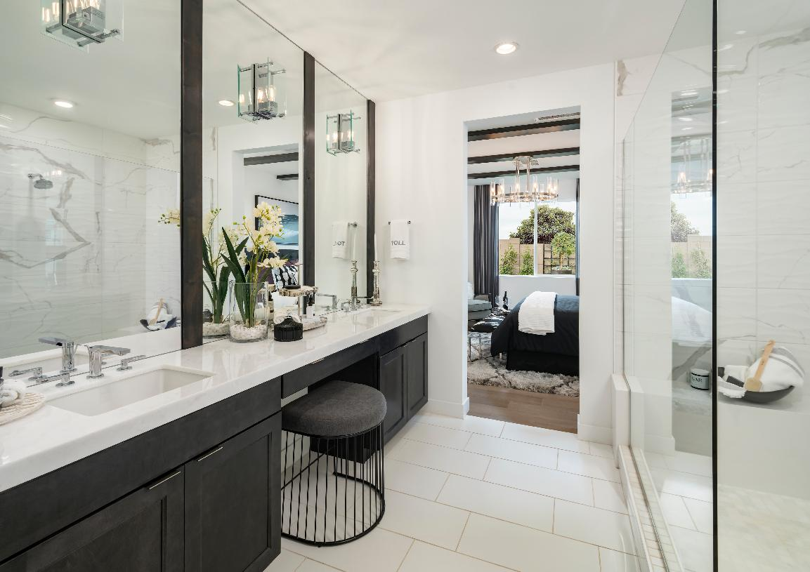 Luxe primary bathroom with dual-sink vanity and large walk-in shower