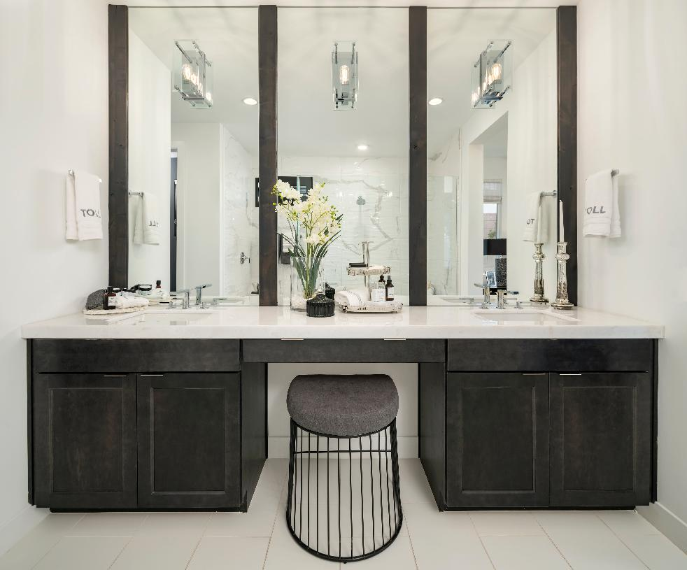 Primary bathroom with dual-sink vanity