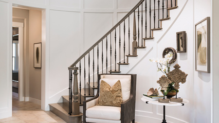 Elegant Foyer with Spiral Staircase