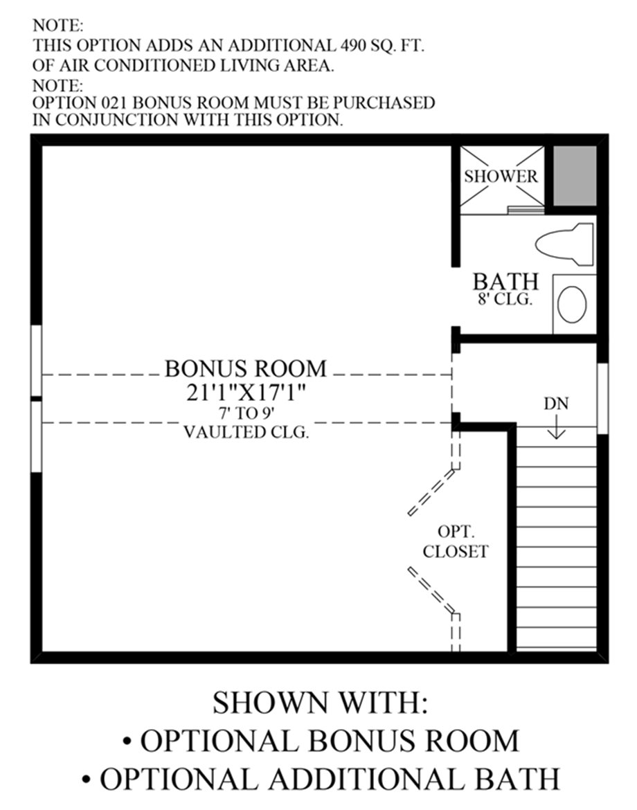 Optional Bonus Room & Additional Bath Floor Plan
