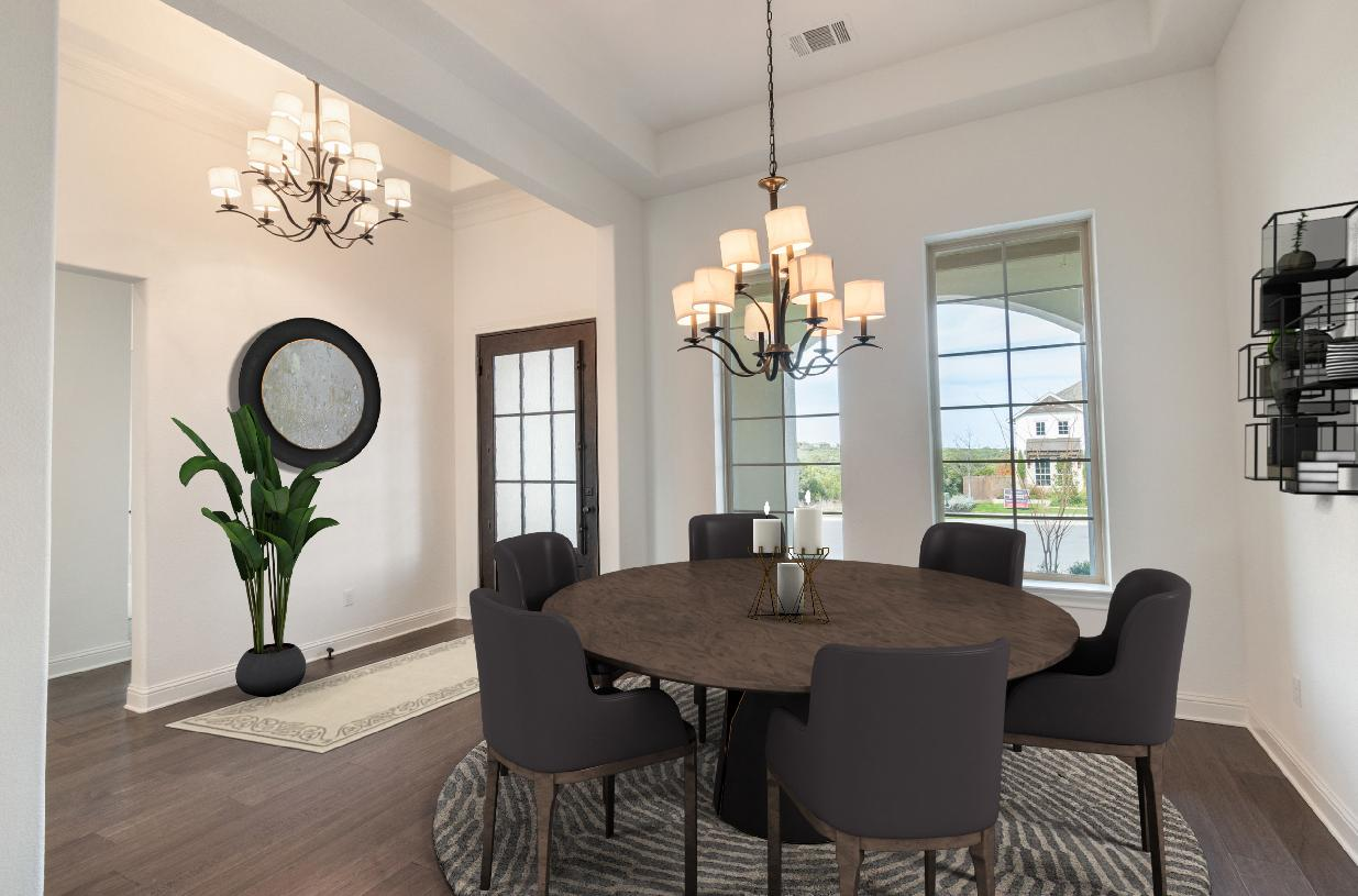 Welcoming foyer flows into the formal dining room