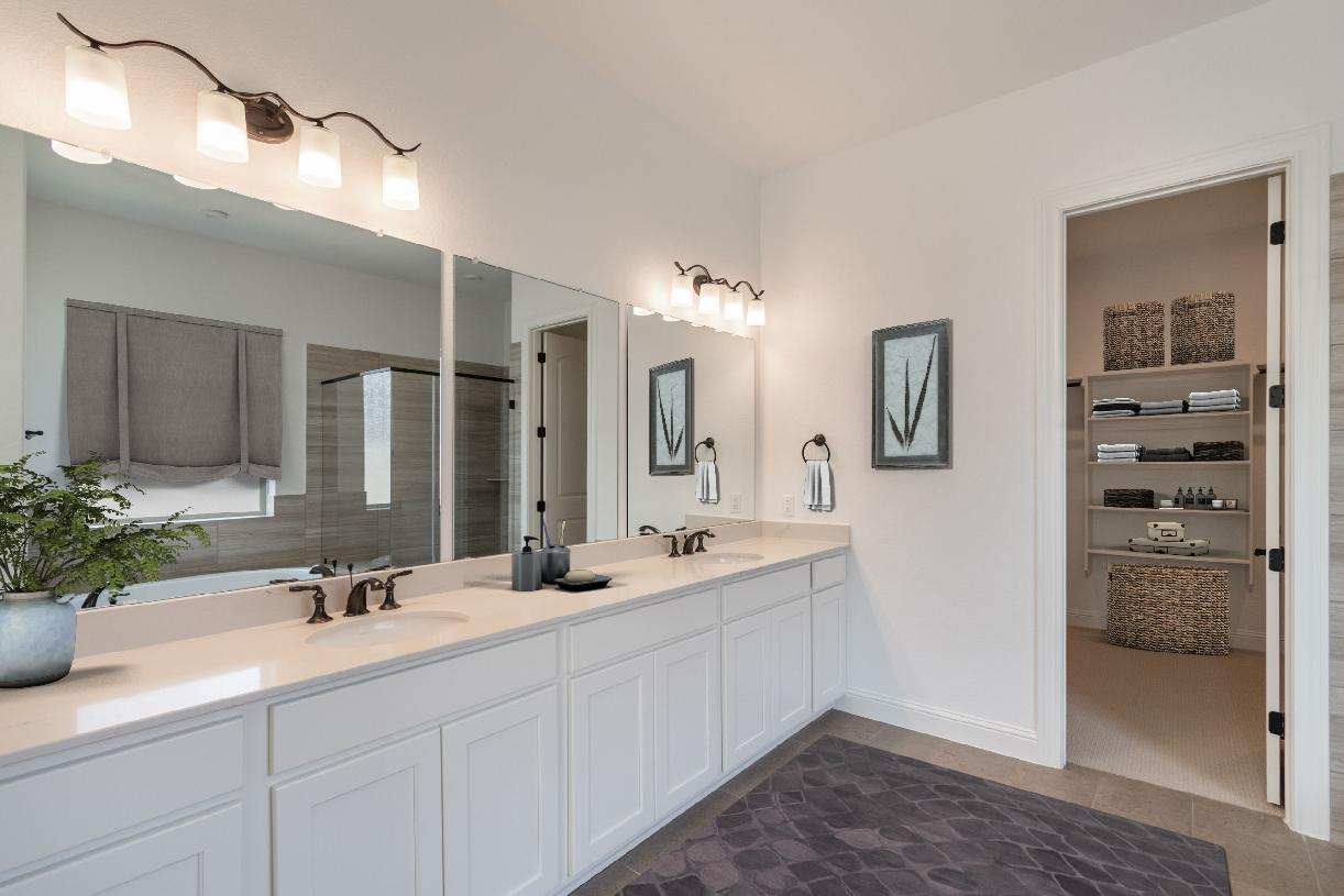 Deluxe primary bath with dual-sink vanity