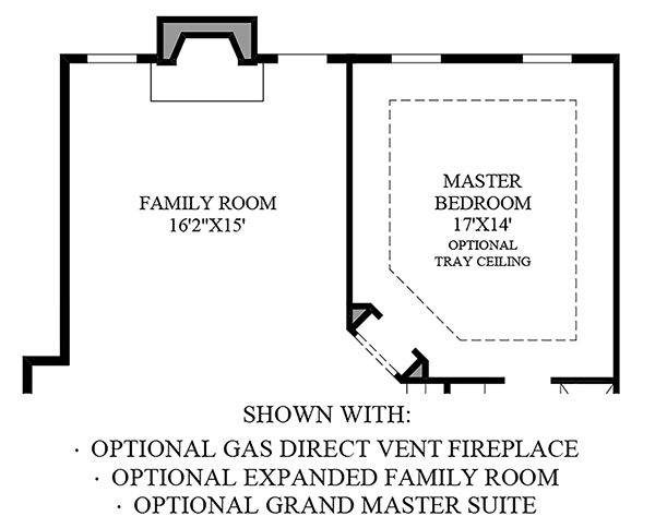 Optional Gas Direct Vent Fireplace, Expanded Family Room & Grand Master Suite