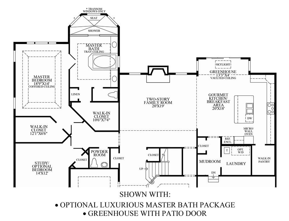 Optional Luxurious Master Bath Package/Greenhouse with Patio Door Floor Plan