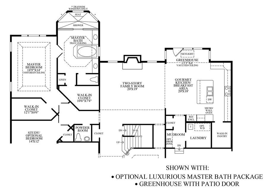Optional Luxury Master Bath Package/Greenhouse Floor Plan