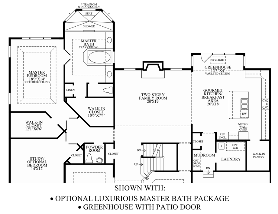 Optional Luxurious Master Bath Package & Greenhouse w/ Patio Door Floor Plan