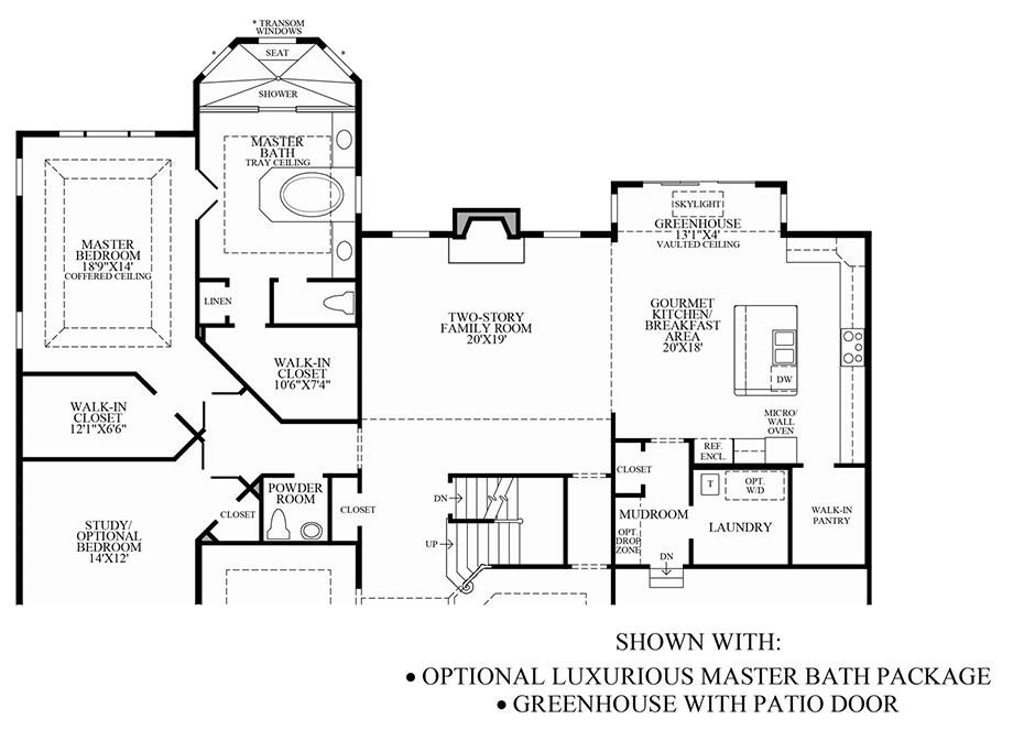 Optional Luxurious Master Bath Package & Greenhouse w/ Patio Door Floor Plan