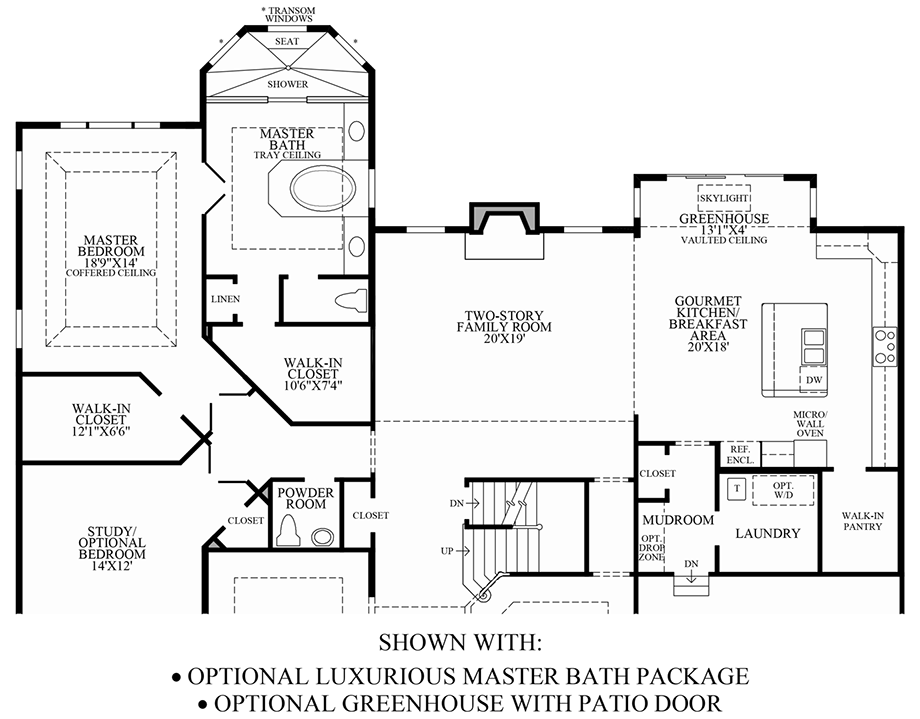 Optional Luxurious Master Bath Package/Greenhouse Floor Plan