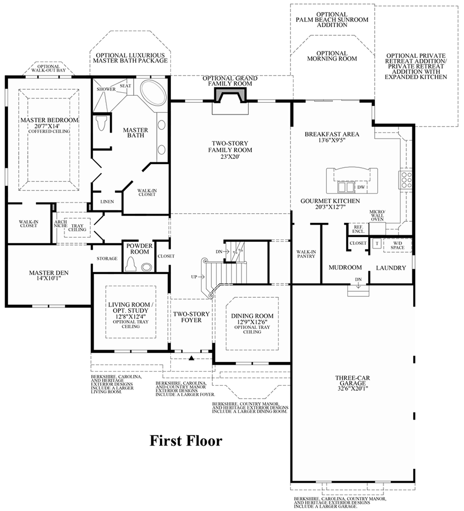 Dominion valley country club estates the raphael home for Floor plans first