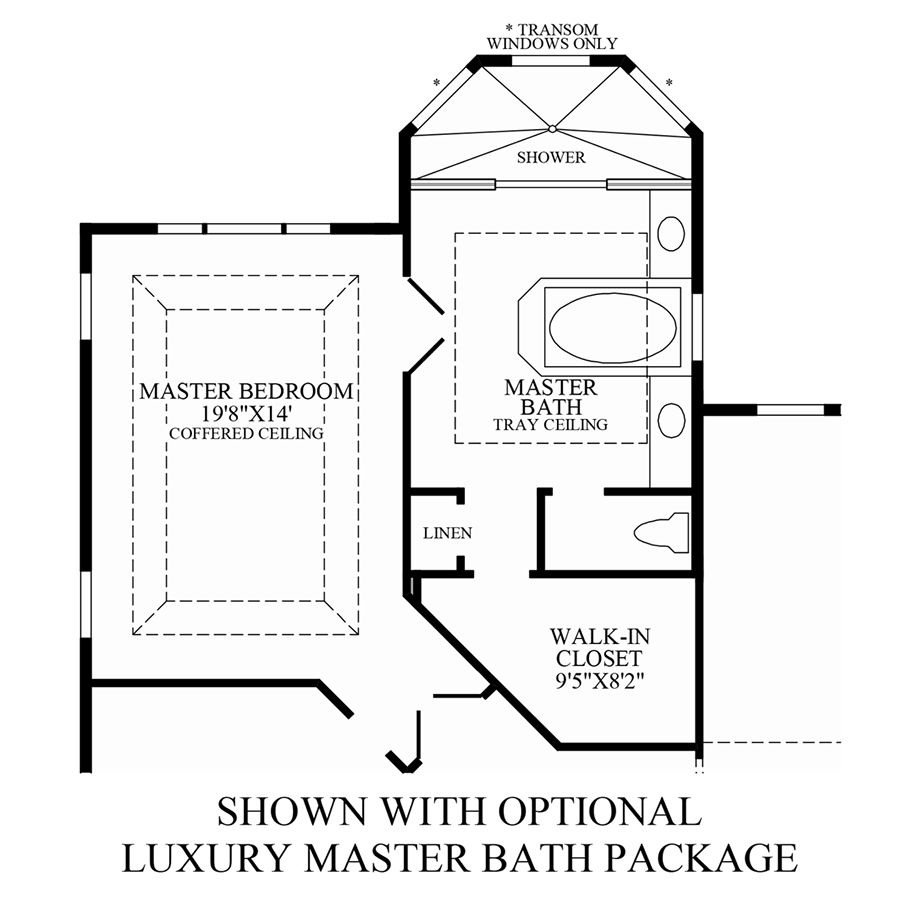 Optional luxurious master bath package floor plan for Master bath floor plans